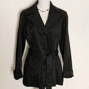 ELLEN TRACY - Hooded Black Trench/Raincoat. Size L